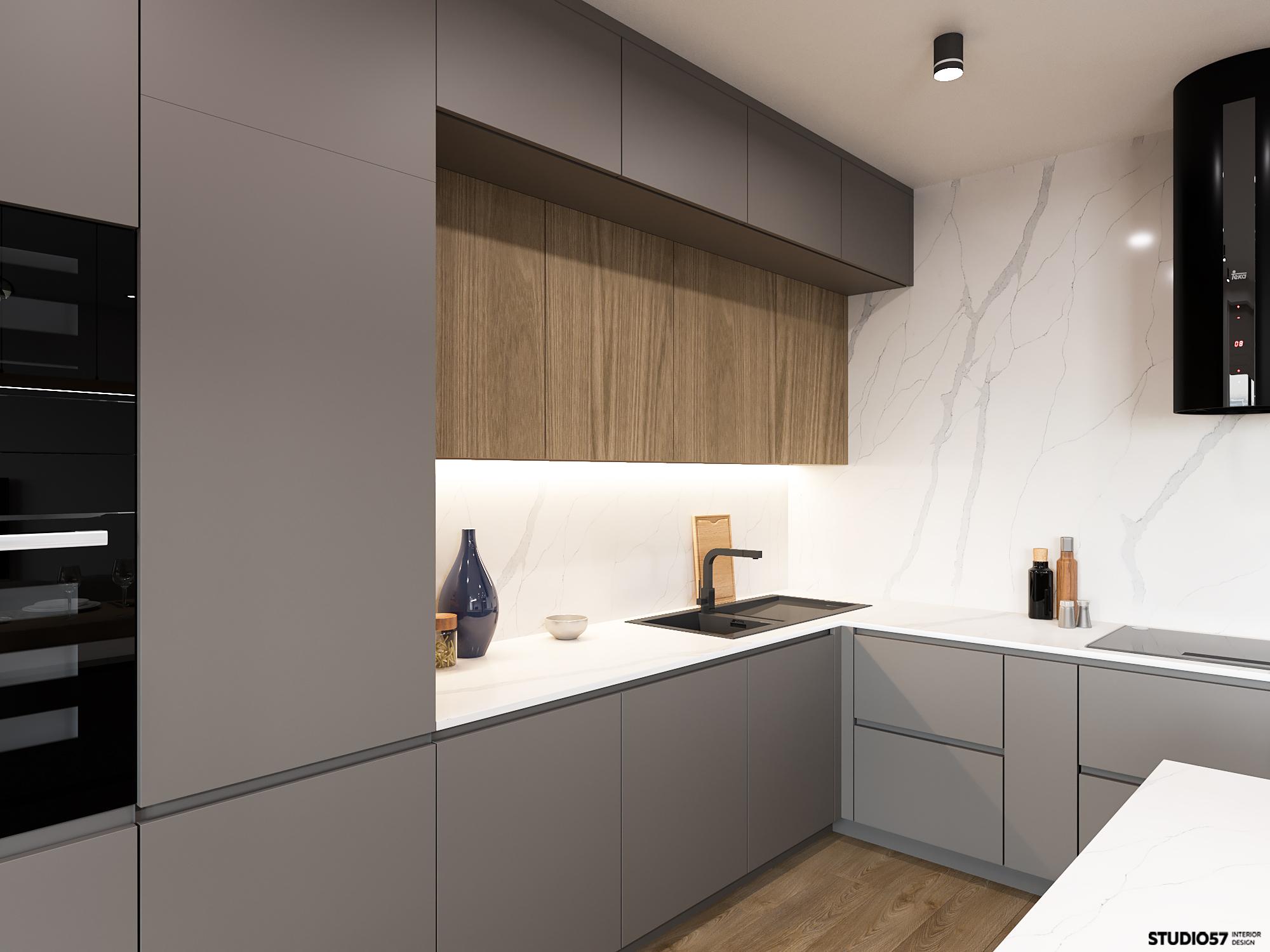 Интерьер кухни-гостиной. Зона кухни. Вид 1.