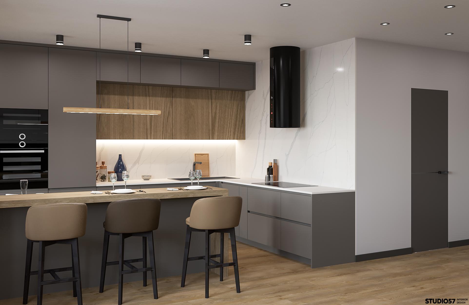 Интерьер кухни-гостиной. Вид 1.