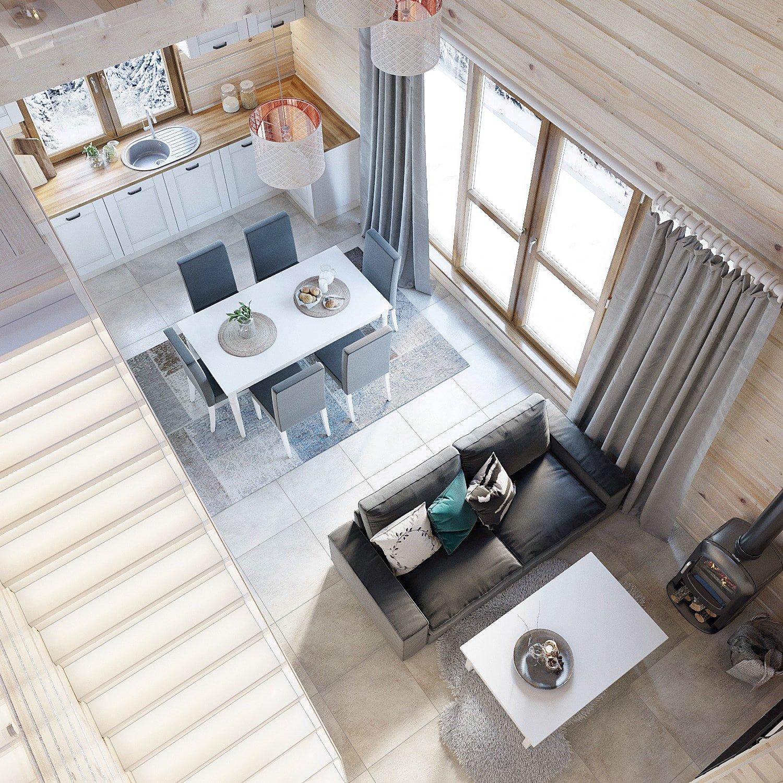 Дизайн кухни и гостиной. Вид сверху 1.