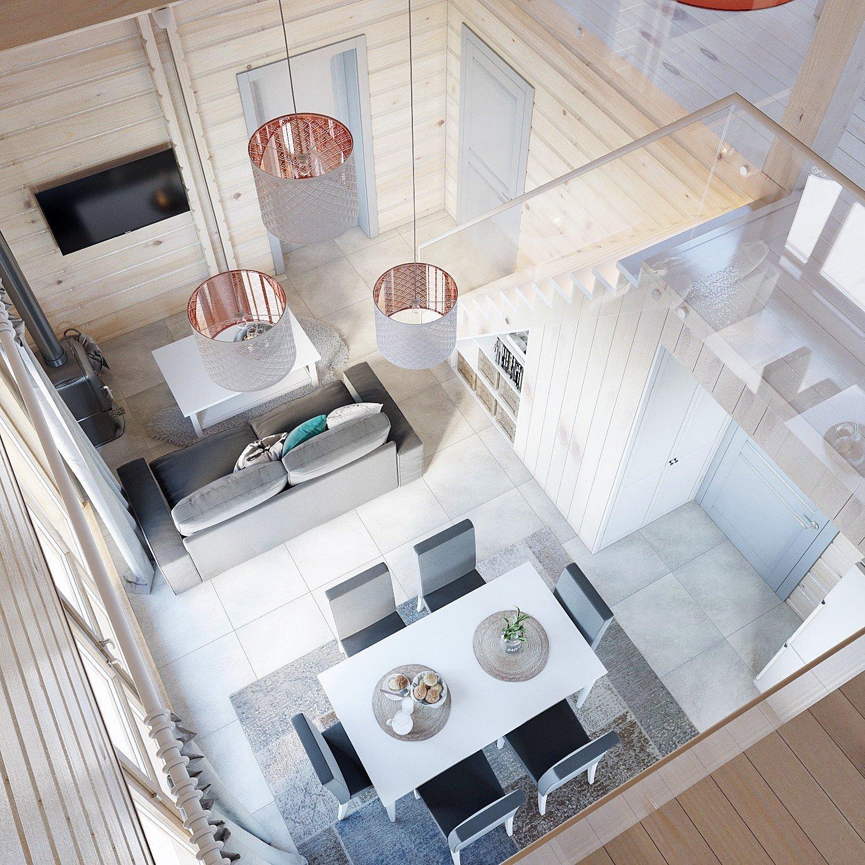 Дизайн кухни и гостиной. Вид сверху 2.
