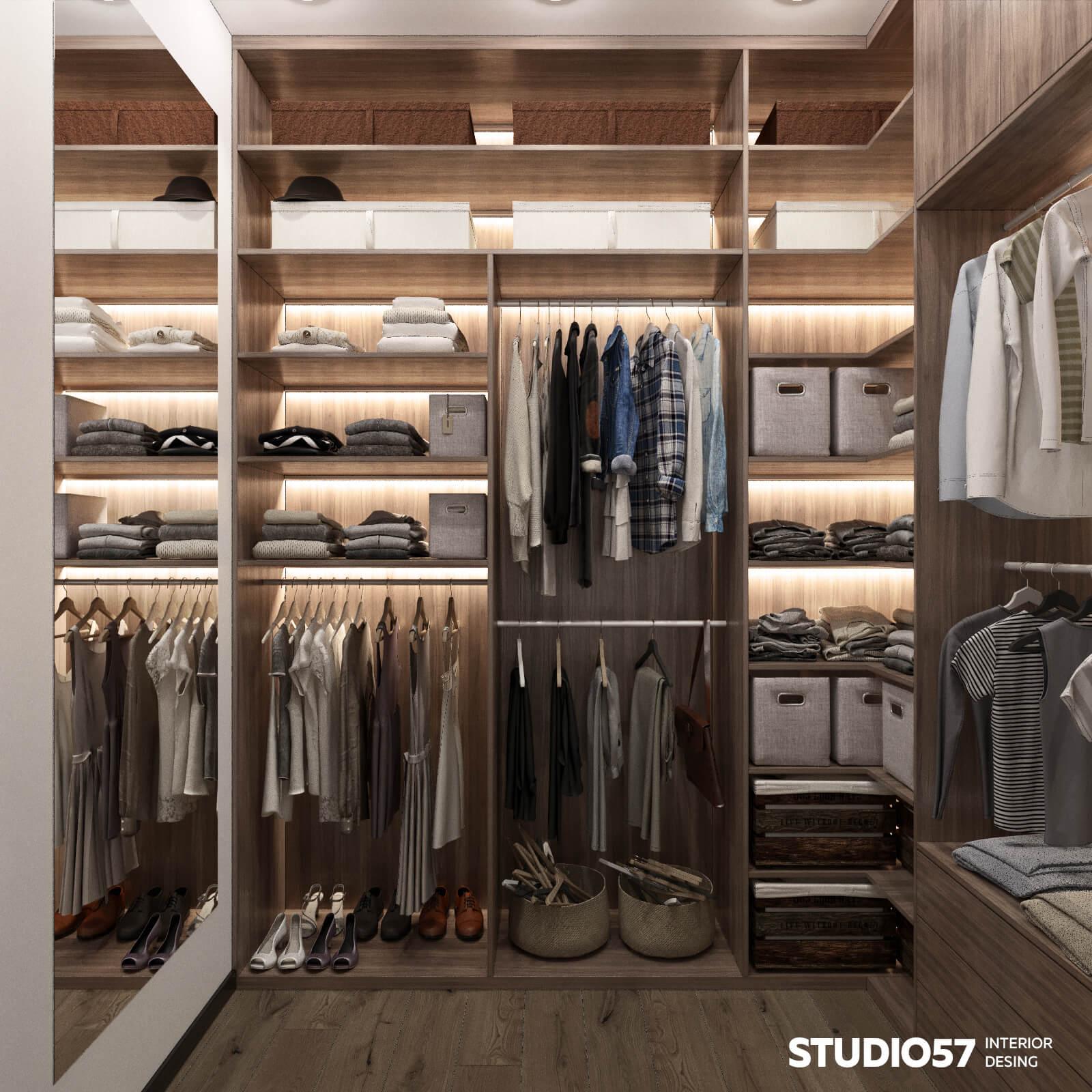 Дизайн гардеробной с подсветкой
