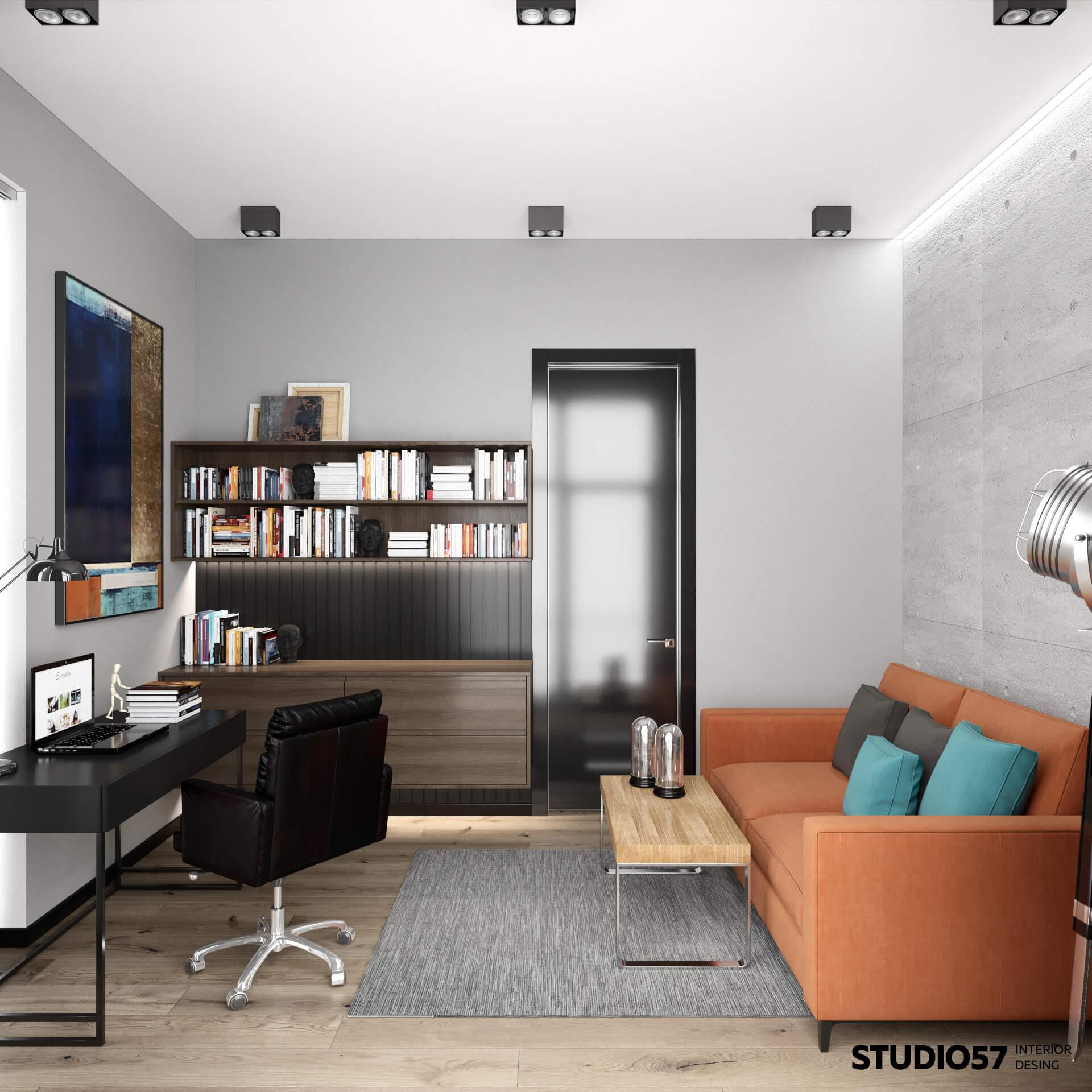 Яркий и стильный диван в кабинете