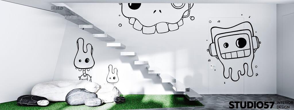 Дизайн зоны отдыха.Лестница. Вид 1.