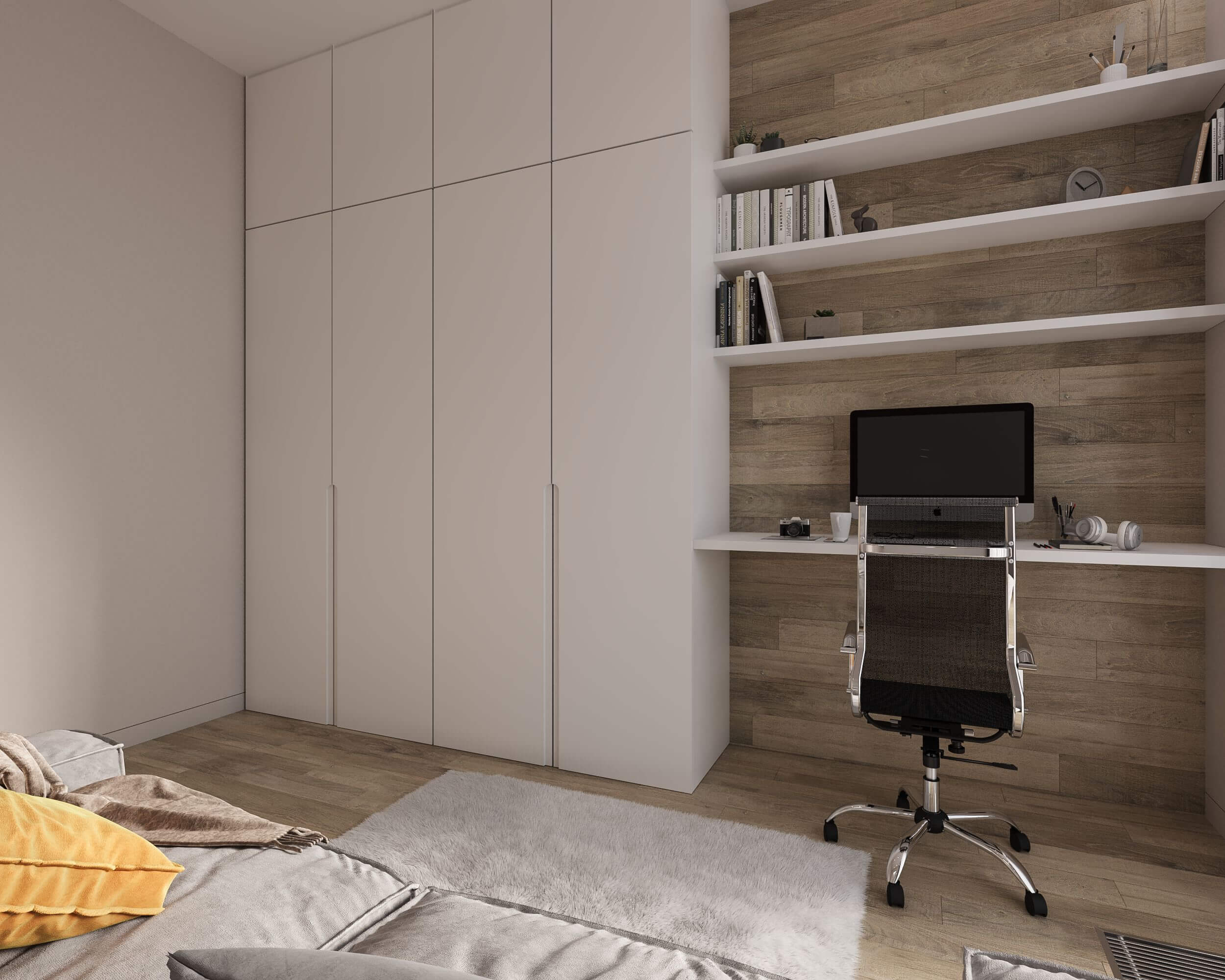 Дизайн гостевой спальни. Рабочая зона. Шкаф. Вид 1.