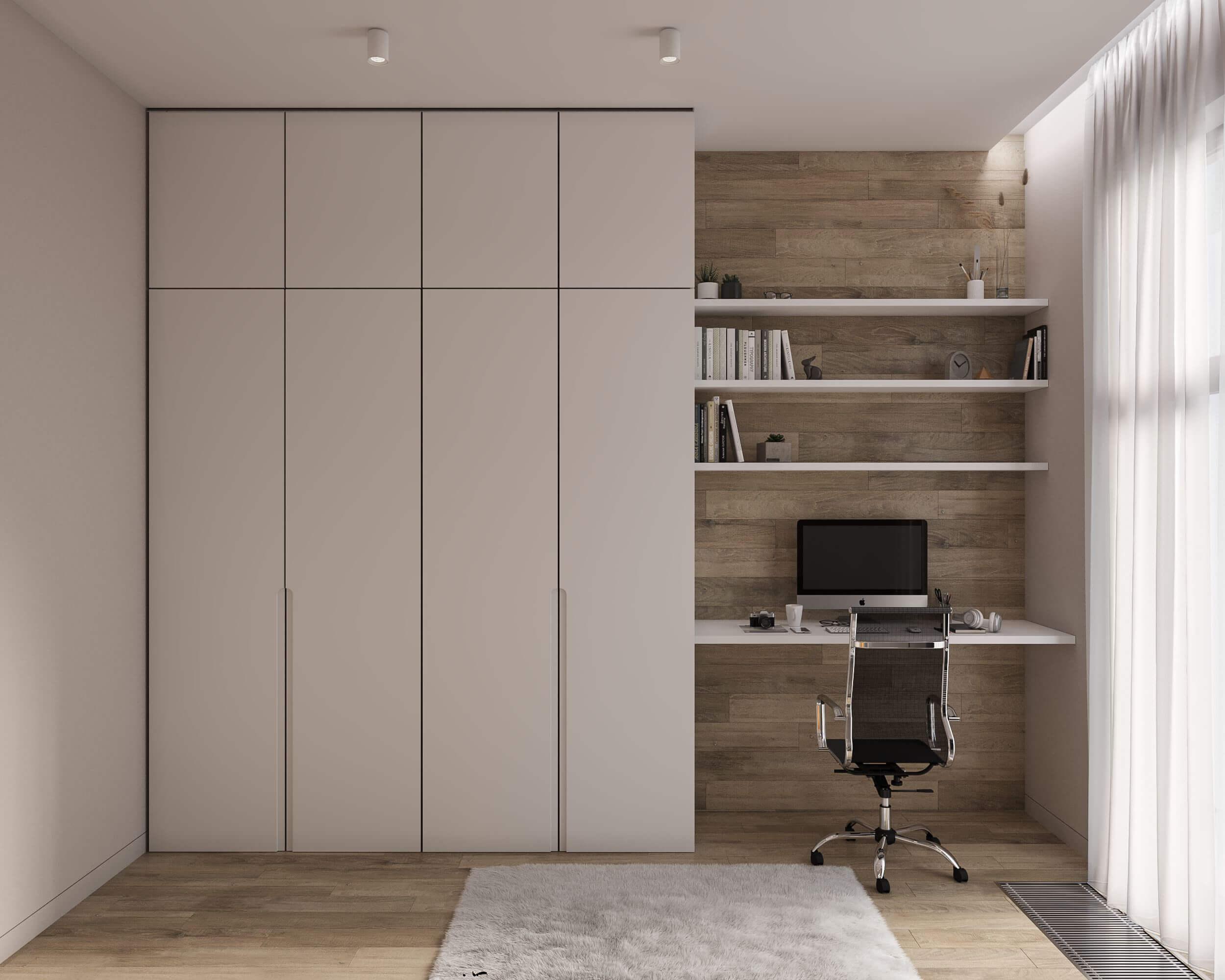 Дизайн гостевой спальни. Рабочая зона. Шкаф. Вид 2.