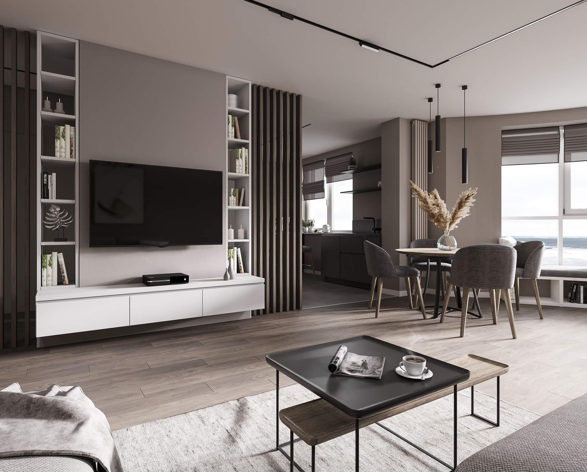 Дизайн кухни-гостиной. ТВ-зона. Вид 1.