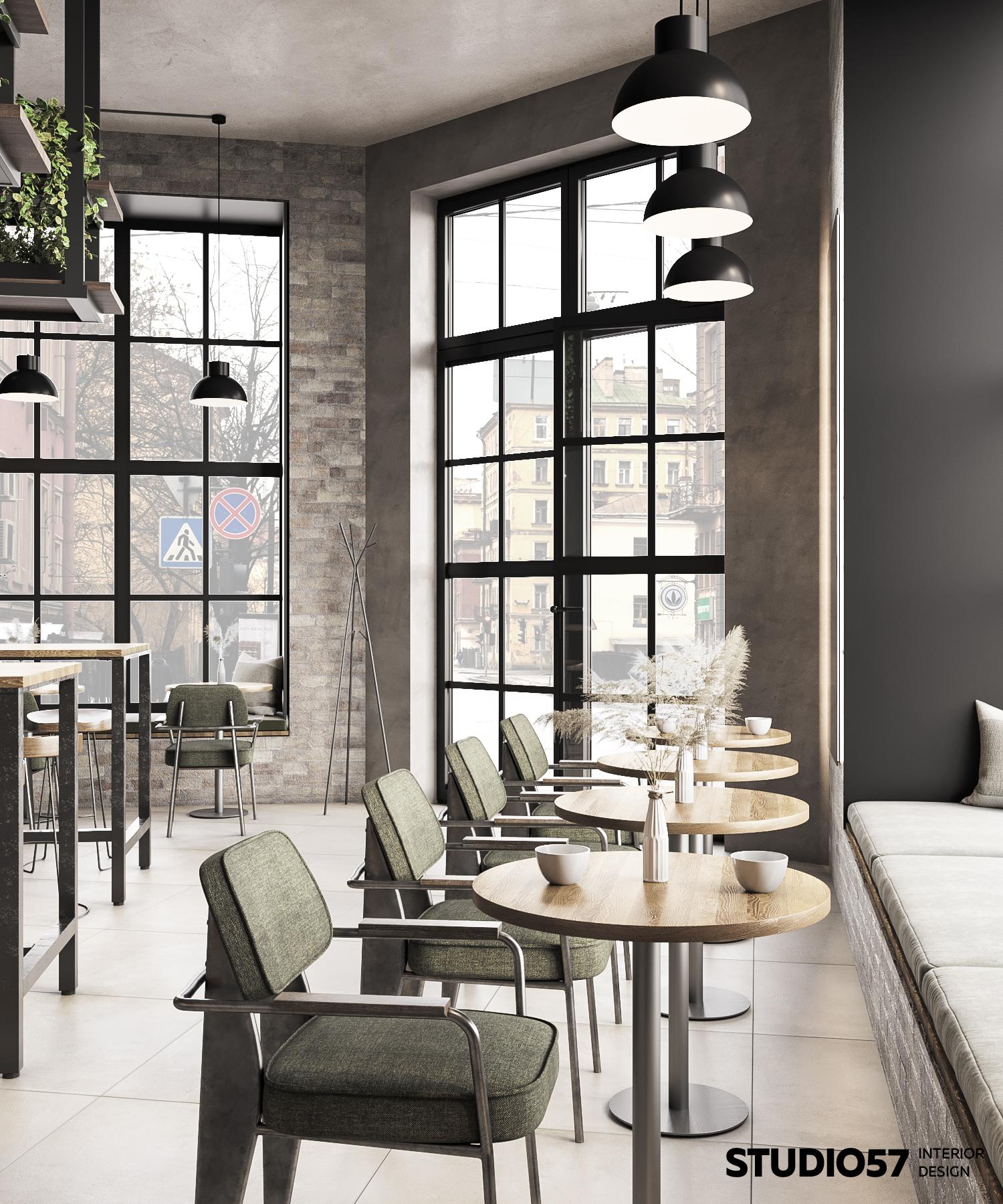 Интерьер кафе в стиле лофт